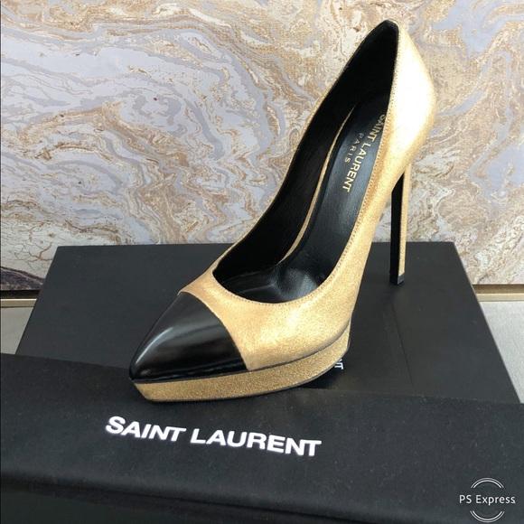 c4da5bbb525 Saint Laurent Shoes | Janis Gold Black Gold Cap Toe Pump | Poshmark